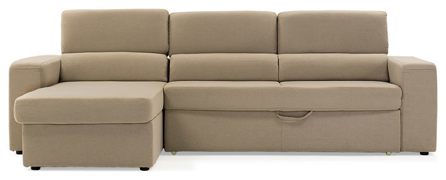Clubber Sleeper Sectional Sofa, Beige, Left Chaise Contemporary Sectional  Sofas