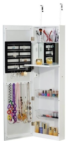 cabinet with mirror jewelry mounted dp lockable storage sortwise door chest cosmetic armoire wardrobe organizer
