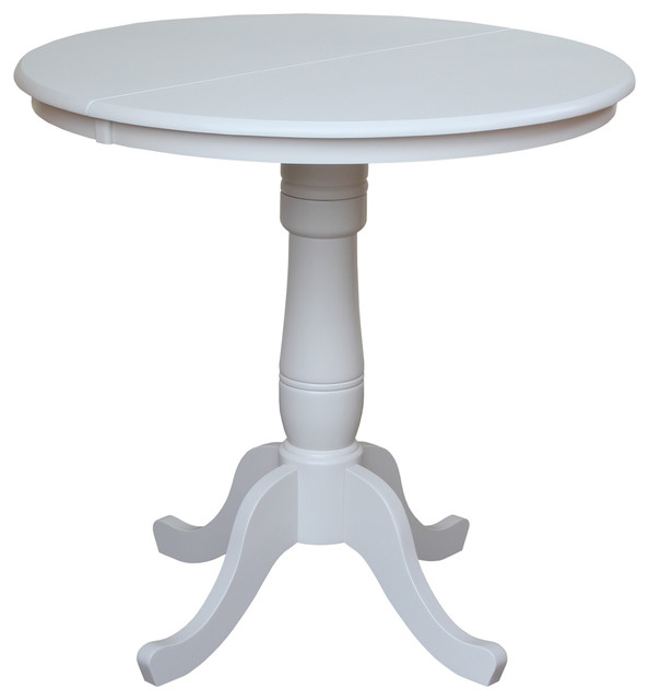 36 Round Top Pedestal Table With 12 Leaf Traditional