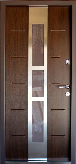 Metallux, Stainless Steel Armored Security Exterior Door, Walnut, Left Hand.