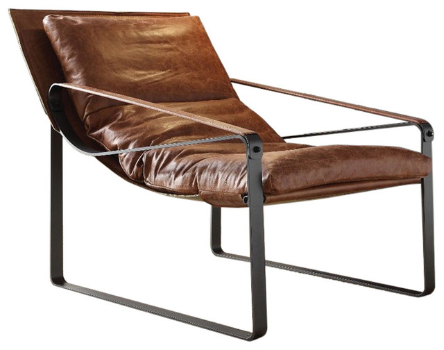 Metal And Leather Accent Lounge Chair, Cocoa Brown.