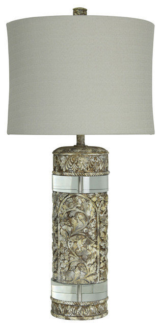 Adelaide Table Lamp, Weathered Stone Finish On Resin Body With Crystal Pieces.