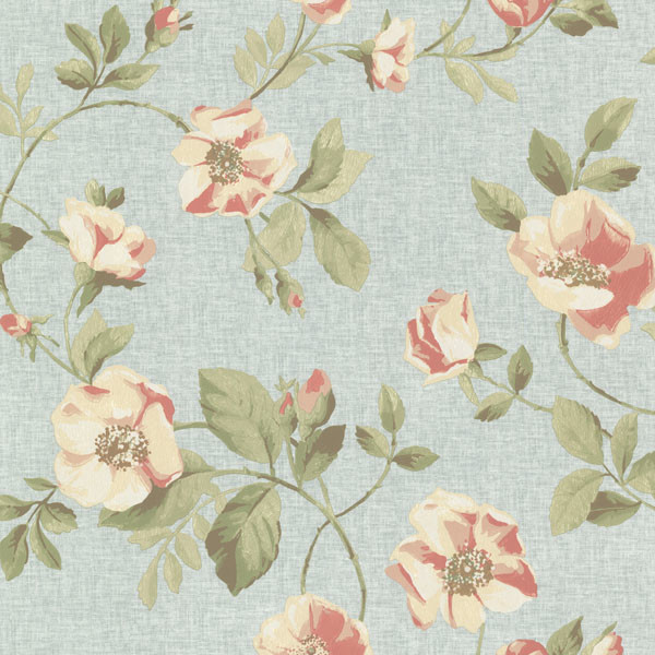 Dorothea Dark Blue Dog Rose Trail Wallpaper Contemporary