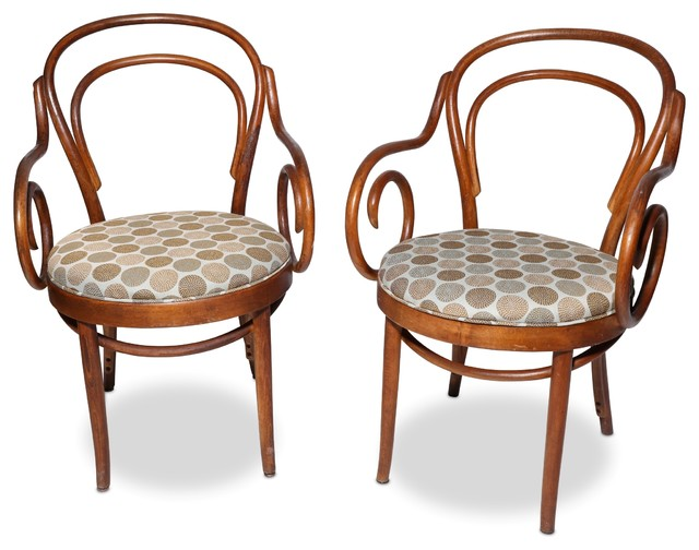 Consigned Vintage Shelby Williams Bentwood Bistro Arm Chairs, Set Of 2  Transitional Armchairs