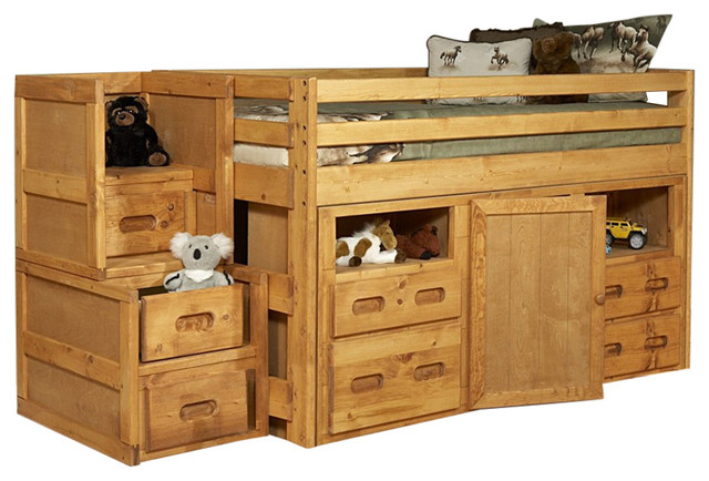 Twin Junior Loft Bed With Storage And Stairway Chest Cinnamon Transitional Kids Beds By Hedgele