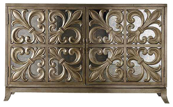 Fleur De Lis Mirrored Credenza Traditional Buffets And