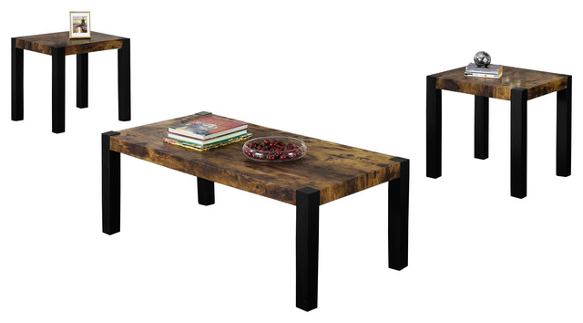 Table Set 3 Piece Black Distressed Reclaimed Look Contemporary Coffee Table Sets By