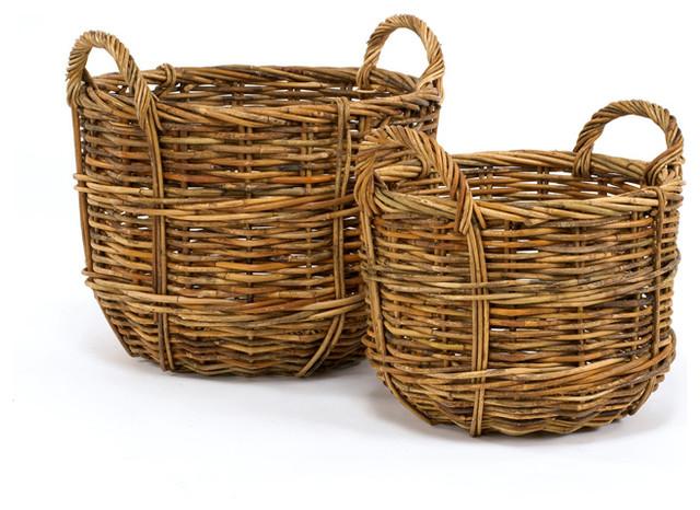 Cottage Rattan Bushel Baskets Set Of 2 Farmhouse Baskets By Hudson Vine