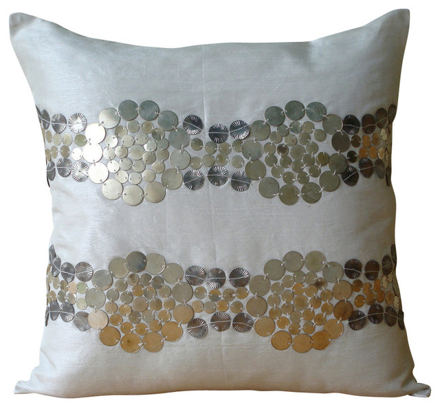 Metal Sequins Ivory Art Silk 14 X14 Pillow Covers Decorative Silver And Gold