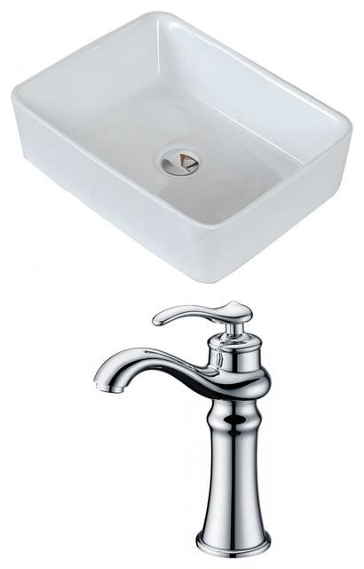 Rectangle Vessel Set, White, Deck Mount Cupc Faucet, 19x14.