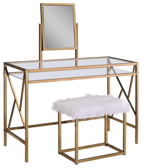 Lillian Contemporary Glass Vanity Table With Stool, Champagne