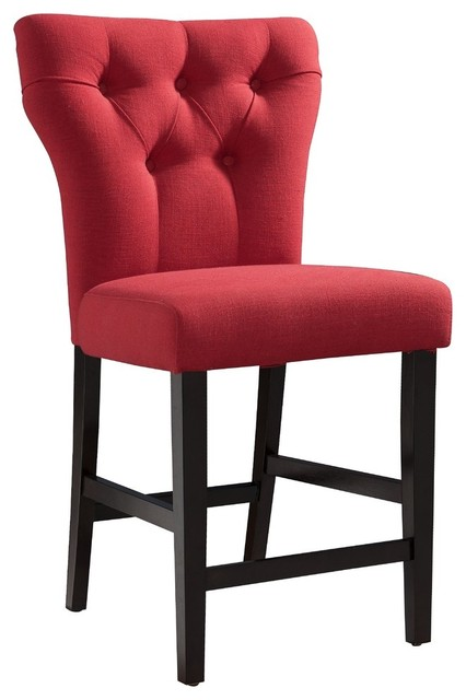 Effie Linen Counter Height Chair With Walnut Finish, Set Of 2, Red.