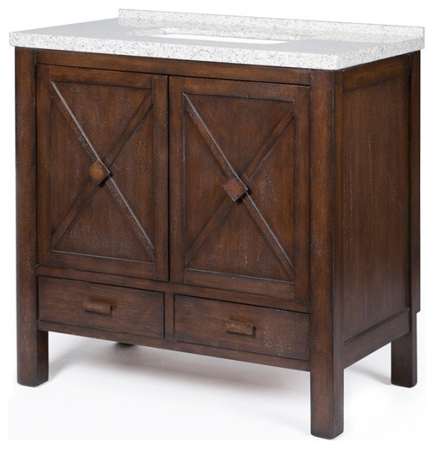 36 Inch Rustic Farmhouse Bathroom Vanity With Sink Granite Top Distressed Transitional Bathroom Vanities And Sink Consoles By Unique Online Furniture Houzz