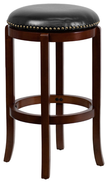 MFO 29'' Backless Cherry Wood Bar Stool with Black Leather Swivel Seat
