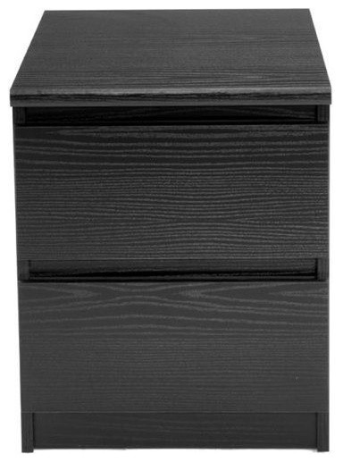 Pemberly Row 2-Drawer Nightstand, Black Woodgrain by Pemberly Row