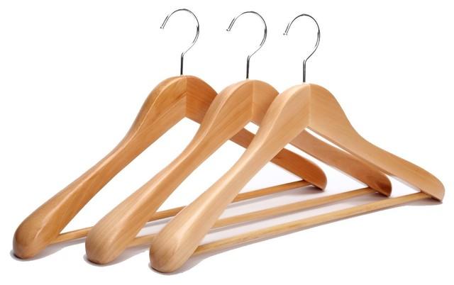 J.s. Hanger Extra-Wide Heavy Duty Rounded Shoulder Wooden Suit Hangers, Set Of 3.