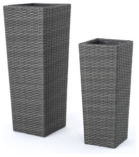 Eden Outdoor Wicker Flower Pots, Set Of 2   Tropical   Outdoor Pots And  Planters   By GDFStudio