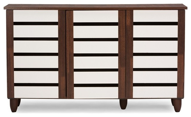 Gisela 2-Tone Shoe Cabinet With 3 Doors, Oak and White - Transitional - Shoe Storage - by ...