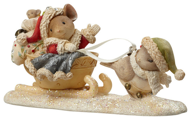 Enesco Heart of Christmas Santa Mouse with Bird Figurine ...