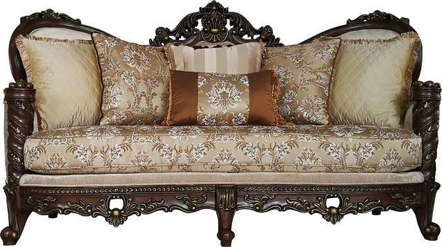 Devayne Sofa With Pillows, Fabric, Dark Walnut.