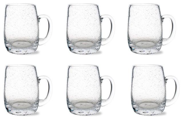 tag bubble glass beer mug set of 6 - Glass Beer Mugs
