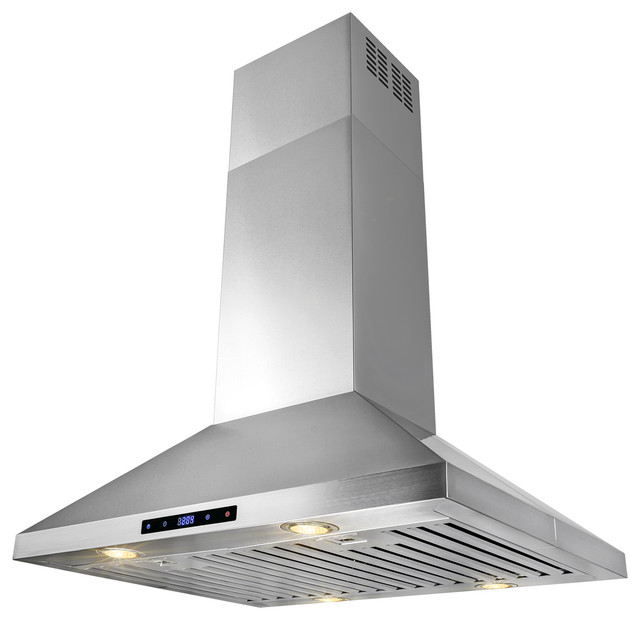 "Akdy 30"" Stainless Steel Island Mount Range Hood, Ducted."