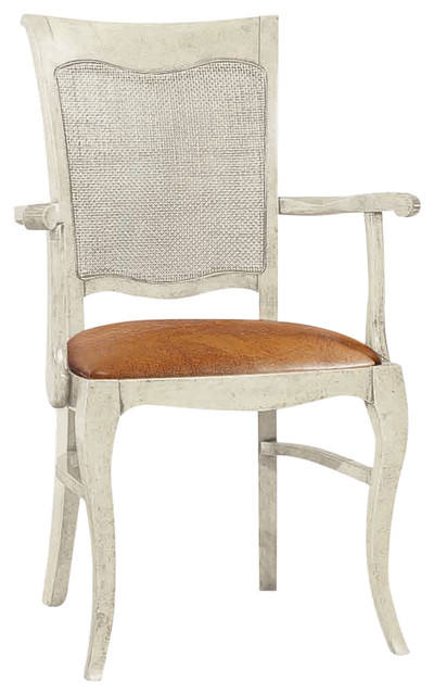 Dining Chair With Ivory Decapé Finish, With Armrests