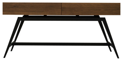 63 Mid-Century Modern Console Table In Walnut.