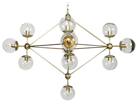 - Pluto Chandelier, Small, Antique Brass Finish - Chandeliers - By Noir