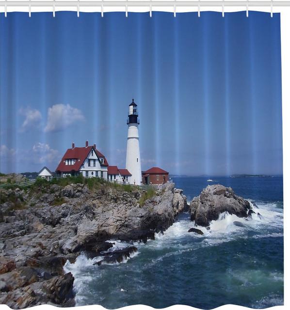 Elegant Portland Head Maine Lighthouse Fabric Shower Curtain Beach Style Shower  Curtains