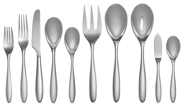 Nambe Bend 45 Piece Flatware Set Contemporary Flatware And Silverware Sets