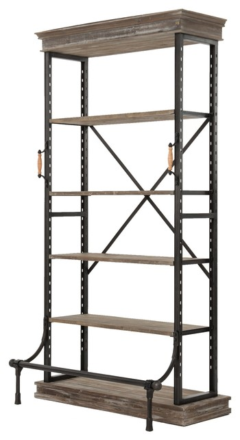 French Industrial Washed Gray Iron Four Shelf Bookcase.