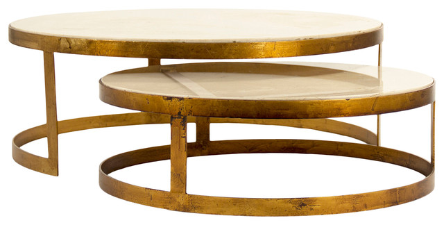 Portia Global Ivory Stone Gold Nest Round Coffee Tables Eclectic Coffee  Tables