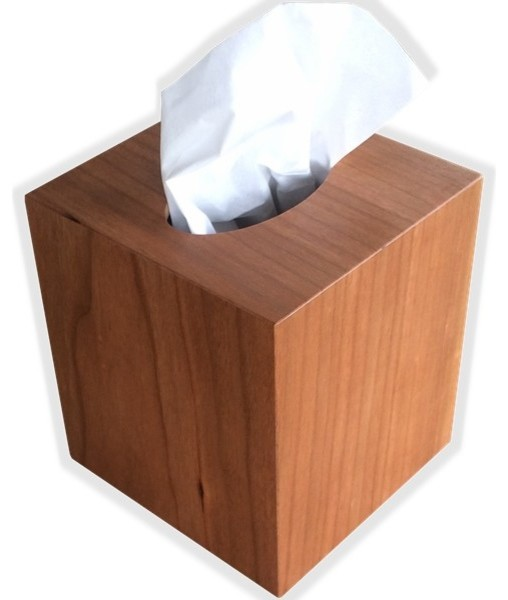 Tissue Box Cover in American Cherry Wood, Square Cube Size