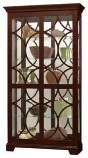 "Morriston Sliding Door Display Cabinet, Chocolate, 78""H x 42""W x 14.25""D - Transitional ..."