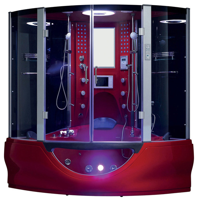Superbe Valencia Steam Shower Sauna With Jacuzzi Whirlpool Massage Bathtub, Red