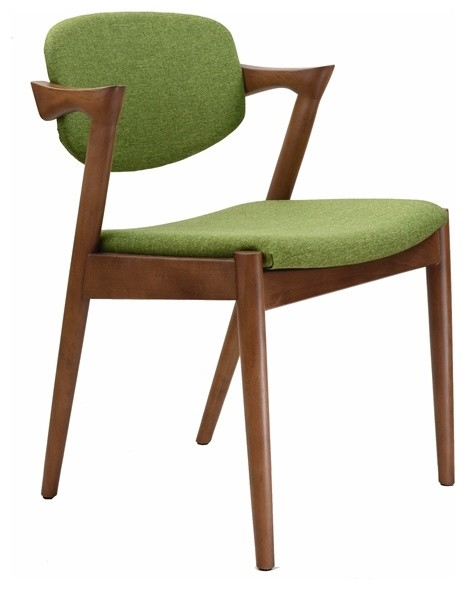 Midcentury Modern Walnut Dining Chair Green Upholstery