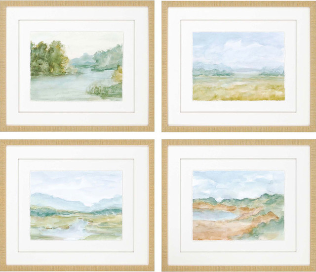 "Watercolour Artwork, Set Of 4, 27""x23""."