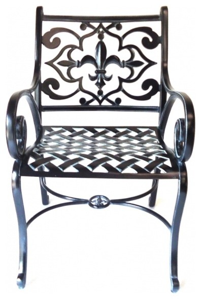 Fleur De Lis Solid Cast Aluminum Patio Chair Traditional Outdoor Dining Chairs By Frontera Furniture