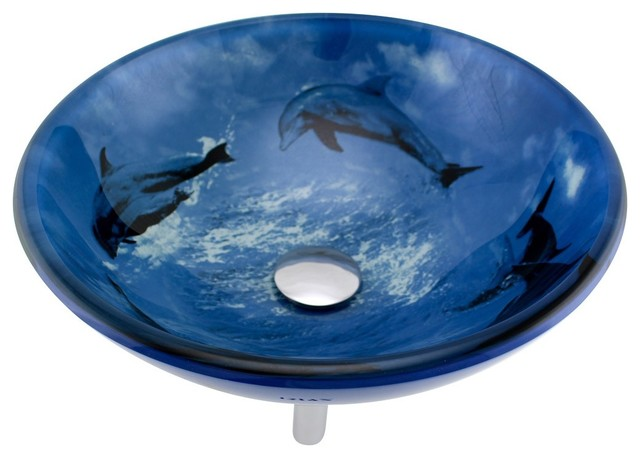 Tempered Glass Vessel Sink With Drain, Dolphin Design Blue Bowl Sink.