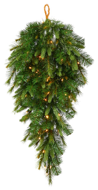 """36"""" Pre-Lit Battery Operated Mixed Pine Cashmere Teardrop Swag, Clear LED"""