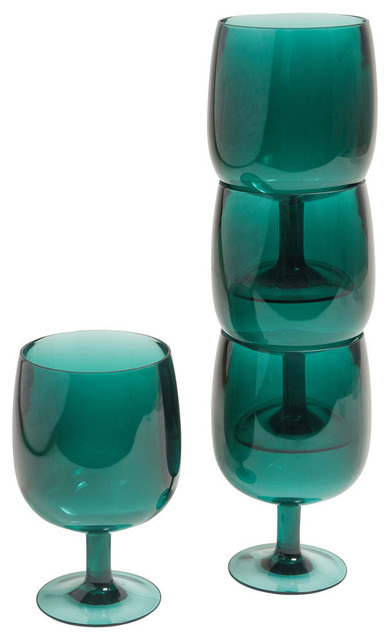 stacking acrylic wine glasses set of 4 green