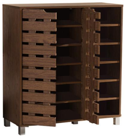 Shirley Walnut Medium Brown Wood 2-Door Shoe Cabinet With Open Shelves.