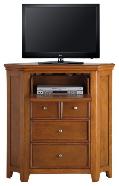Gilbert Cherry Oak Corner Media Chest - Traditional - Entertainment Centers And Tv Stands - by ...