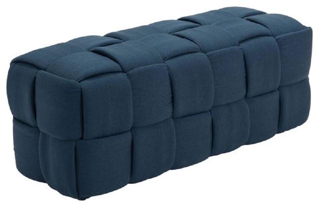 Pyper Marketing Liberty Upholstered Bench, Navy Blue.