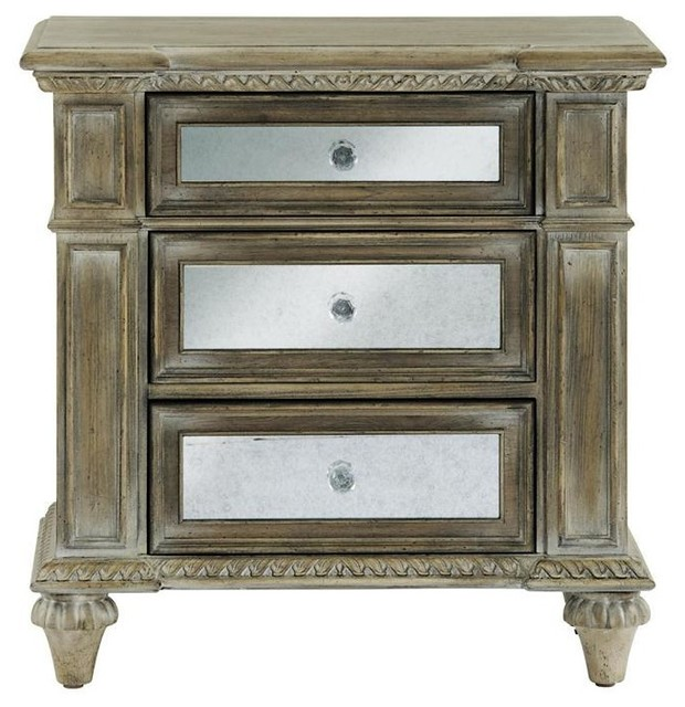 Pulaski Arabella Mirrored Nightstand, Aged Patina  Transitional Nightstands And Bedside Tables
