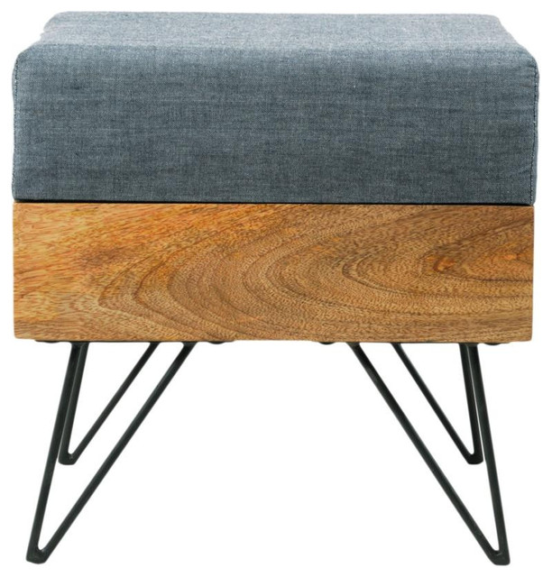 Mango Wood Hairpin Square Pouf Contemporary Footstools