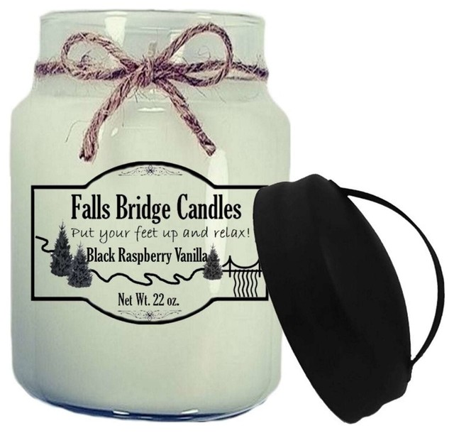 Black Raspberry Vanilla Scented Jar Candle, 26 oz, Handle Lid