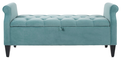 Jacqueline Tufted Roll Arm Storage Bench, Arctic Blue