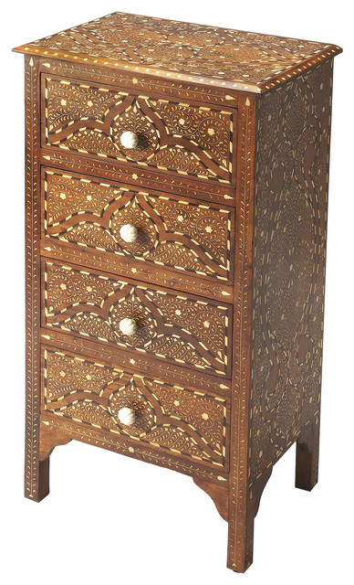 Chevrier Wood & Bone Inlay Accent Chest - Medium Brown.